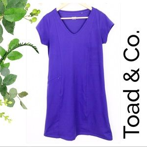 Toad & Co Purple Vneck Tshirt Dress With Pocket